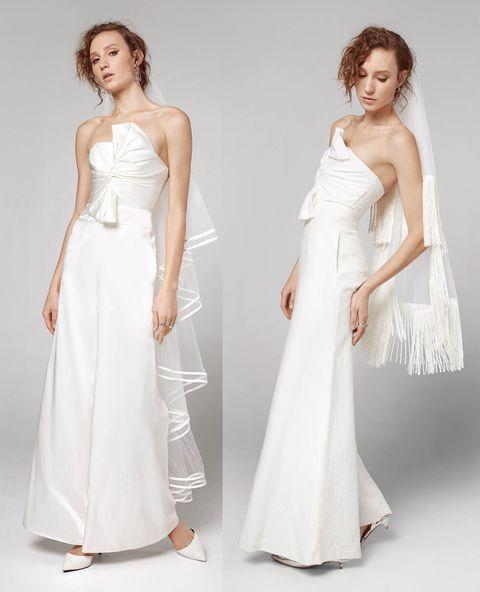 Gown, Wedding dress, Clothing, Dress, Fashion model, Bridal party dress, Shoulder, Bridal clothing, White, Bridal accessory,