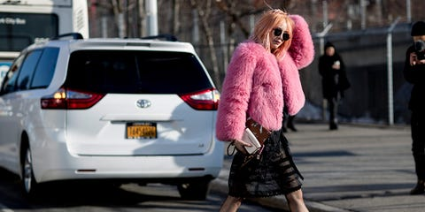 Street fashion, Fashion, Pink, Car, Snapshot, Vehicle, Infrastructure, Street, Road, Photography,