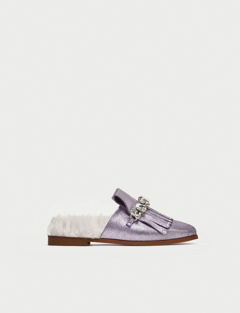 Slippers Princetown de piel forrados en pelo Gucci qokF5b