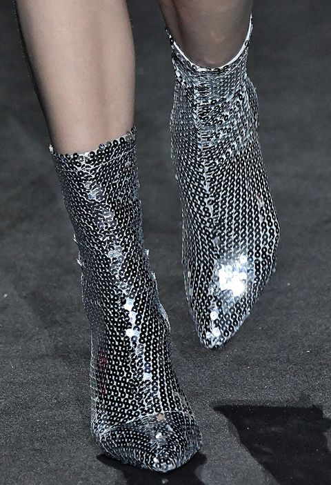 Footwear, Ankle, Leg, Fashion, Sock, Joint, Shoe, Human leg, Fashion accessory, Silver,