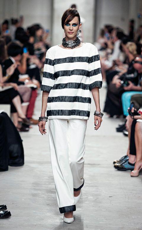 Clothing, Footwear, Leg, Fashion show, Shoulder, Joint, Outerwear, Runway, Style, Fashion model,
