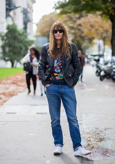 Clothing, Trousers, Denim, Jeans, Textile, Photograph, Outerwear, Street, Sunglasses, Street fashion,