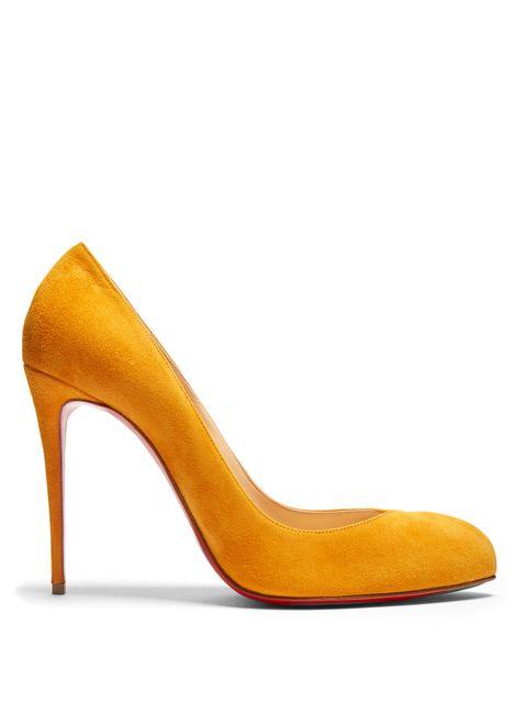 Footwear, High heels, Yellow, Basic pump, Orange, Court shoe, Shoe, Leather, Suede, Beige,