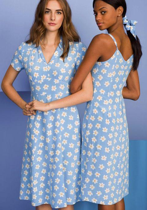 Clothing, Blue, Dress, Day dress, Aqua, Pattern, Turquoise, Neck, Design, Fashion model,