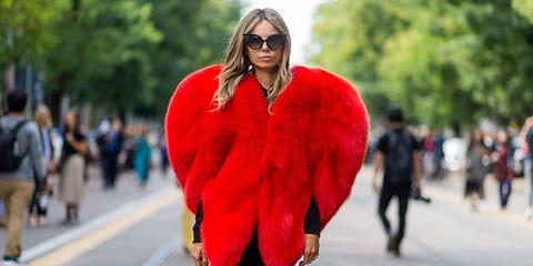 Eyewear, Textile, Red, Street fashion, Sunglasses, Carmine, Fashion, Fur clothing, Pedestrian, Fur,