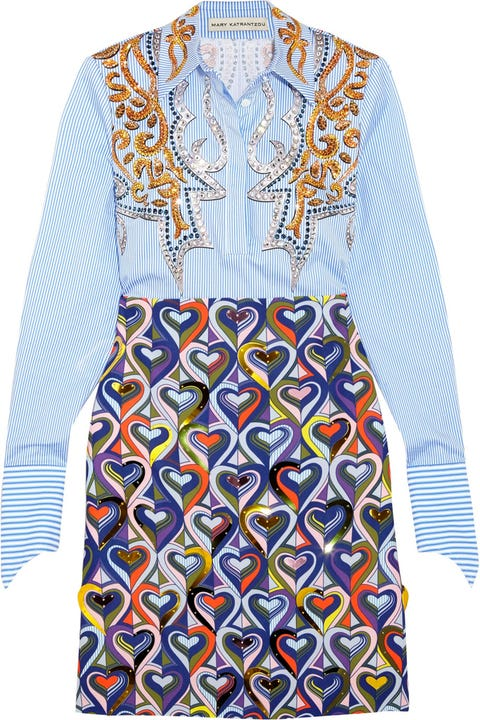 Blue, Sleeve, Collar, Pattern, Textile, Orange, Style, Electric blue, Aqua, Formal wear,
