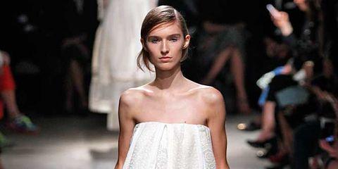 Clothing, Footwear, Fashion show, Shoulder, Joint, Runway, Fashion model, Style, Dress, Fashion,