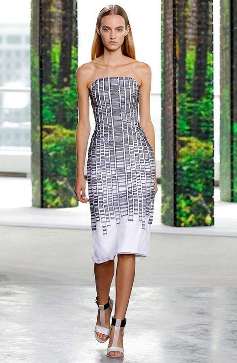 Clothing, Shoulder, Human leg, Dress, Fashion show, Joint, One-piece garment, Waist, Style, Fashion model,