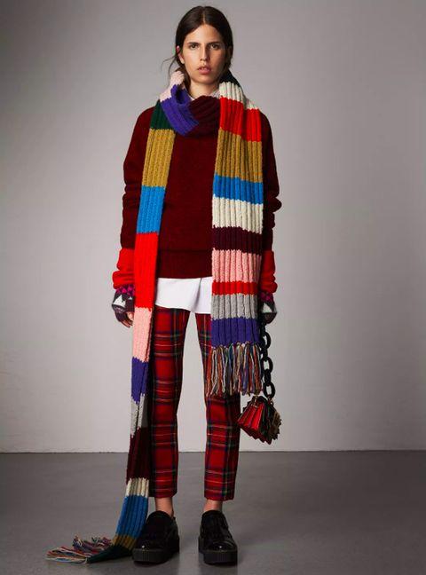 Bufanda extralarga en punto acanalado de lana a franjas de colores a6b33138515