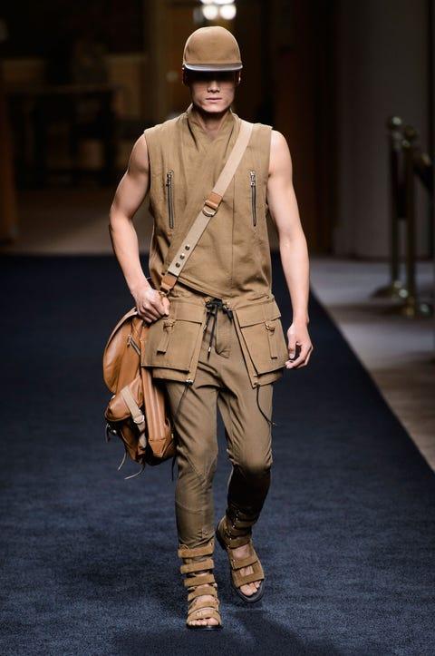 Brown, Joint, Khaki, Uniform, Bag, Boot, Headgear, Tan, Fashion, Personal protective equipment,