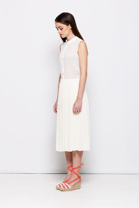 Clothing, White, Dress, Day dress, Neck, Fashion model, Waist, Fashion, Footwear, Beige,