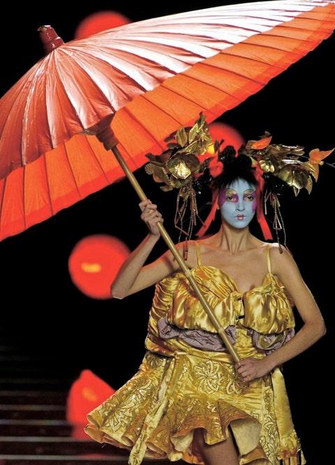 Umbrella, Fashion, Costume, Costume design, Makeover, Fashion design, Headpiece, Tradition, Wing, Silk,