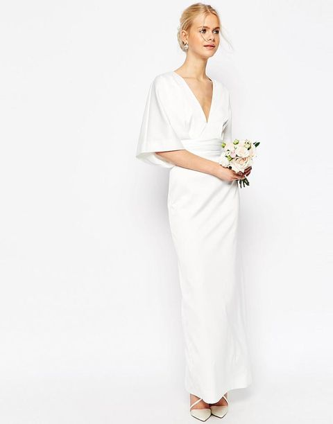 Clothing, Sleeve, Shoulder, Textile, Standing, Joint, Dress, White, Elbow, Bridal clothing,