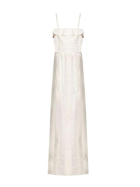 Dress, White, One-piece garment, Day dress, Beige, Wedding dress, Ivory, Embellishment, Clothes hanger, Silver,