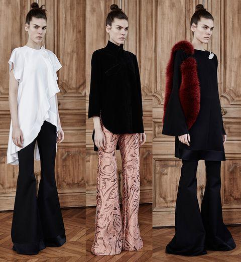 Sleeve, Style, Collar, Fashion, Neck, Black hair, Waist, Bangs, Fashion design, Wood flooring,