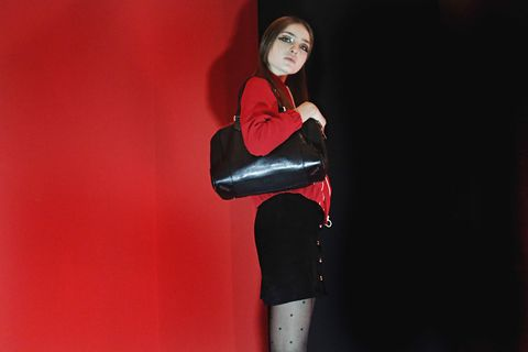 Sleeve, Red, Waist, Tights, Leggings, Leather, Makeover, Glove, Fashion model, Boot,