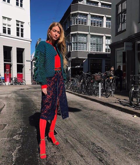 Street fashion, Clothing, Red, Fashion, Blue, Footwear, Snapshot, Pattern, Outerwear, Fashion design,
