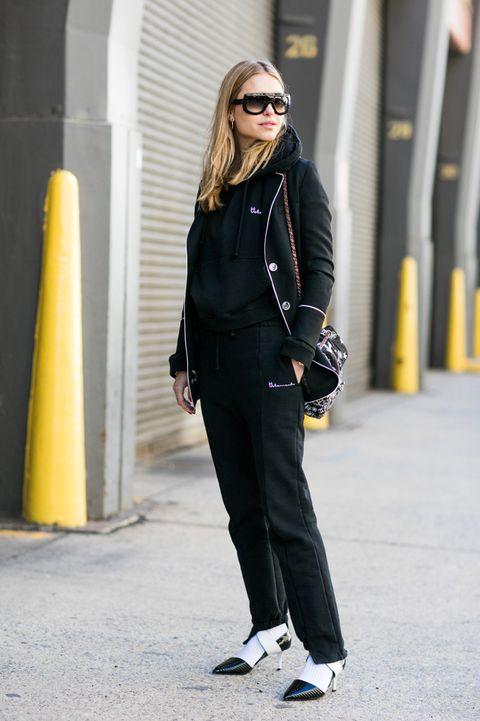 Clothing, Eyewear, Glasses, Sunglasses, Sleeve, Standing, Outerwear, White, Bag, Style,