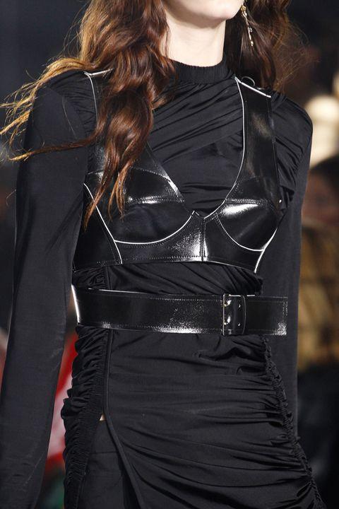 Sleeve, Textile, Latex, Fashion model, Waist, Leather, Fashion, Black, Jacket, Street fashion,