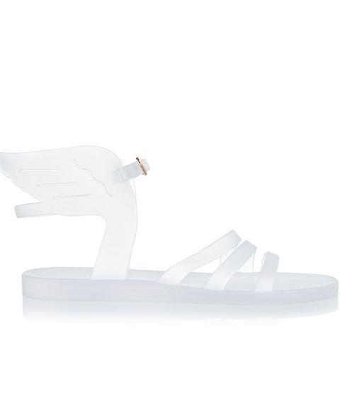 White, Grey, Beige, Bird, Swan, Walking shoe, Synthetic rubber,