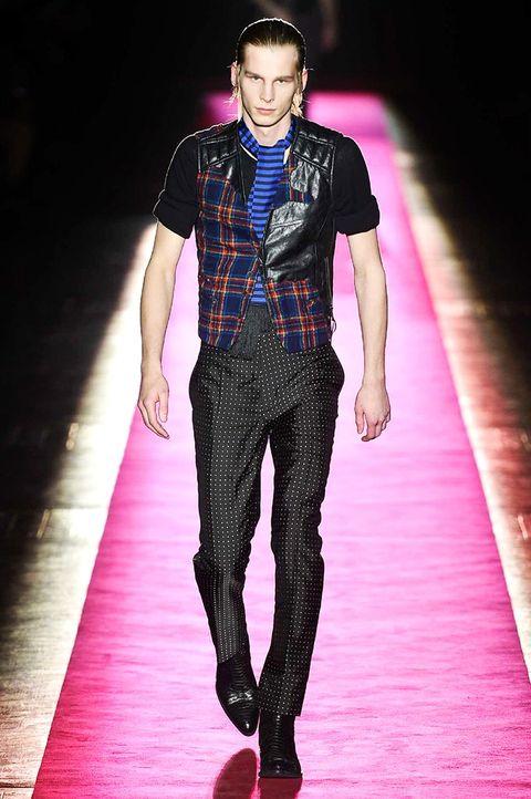 Clothing, Human body, Fashion show, Shirt, Textile, Collar, Dress shirt, Pink, Style, Runway,