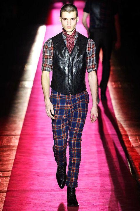 Human body, Fashion show, Plaid, Textile, Shirt, Outerwear, Red, Runway, Dress shirt, Collar,
