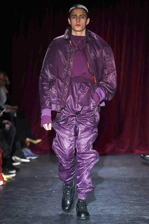 Footwear, Jacket, Textile, Cap, Hat, Purple, Fashion, Curtain, Leather, Fashion design,
