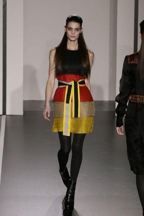 Clothing, Leg, Human body, Shoulder, Textile, Waist, Joint, Human leg, Fashion show, Style,