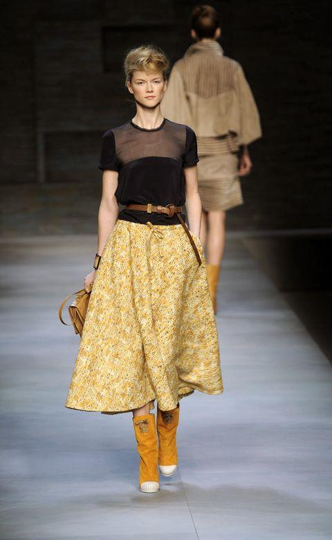 Clothing, Brown, Sleeve, Shoulder, Fashion show, Joint, Waist, Khaki, Style, Fashion model,