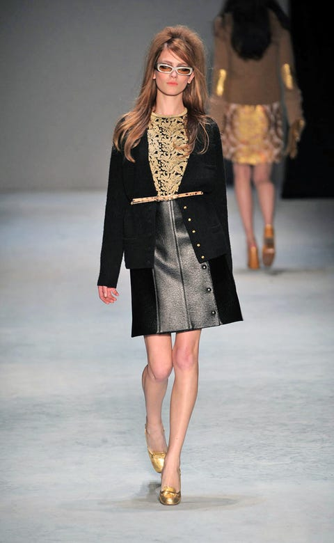 Clothing, Brown, Fashion show, Event, Human body, Shoulder, Joint, Outerwear, Runway, Fashion model,