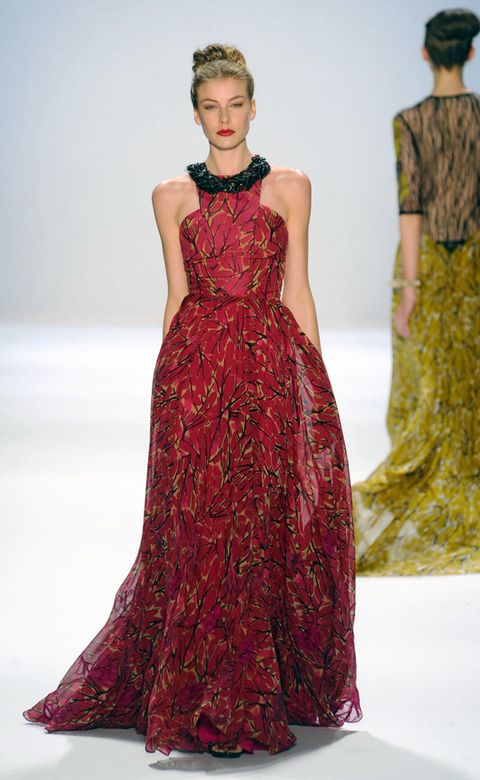 Shoulder, Dress, Textile, Joint, Red, Fashion model, One-piece garment, Formal wear, Style, Fashion show,