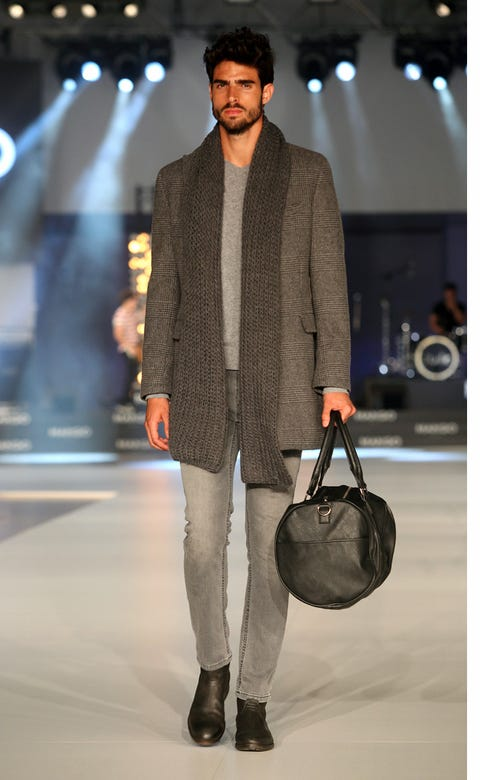 Clothing, Brown, Trousers, Shoulder, Outerwear, Bag, Fashion show, Style, Street fashion, Luggage and bags,