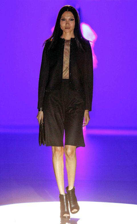 Clothing, Outerwear, Fashion show, Dress, Purple, High heels, Fashion model, Fashion, Runway, Violet,