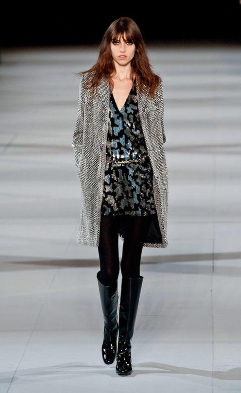 Clothing, Human, Fashion show, Textile, Outerwear, Winter, Style, Fashion model, Boot, Street fashion,