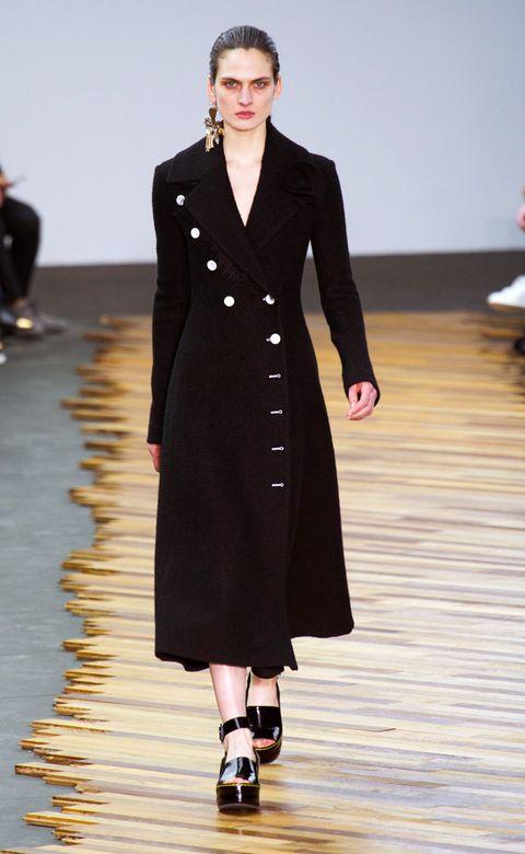 Clothing, Fashion show, Shoulder, Outerwear, Coat, Formal wear, Fashion model, Style, Runway, Dress,