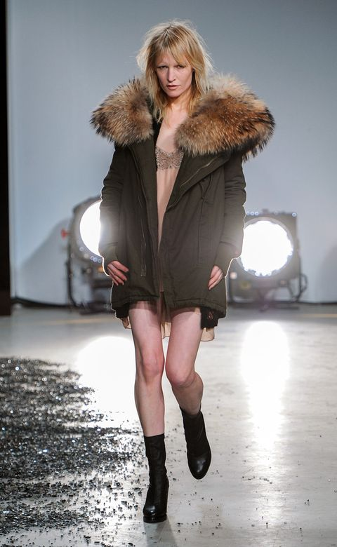 Clothing, Human, Fashion show, Winter, Textile, Outerwear, Fashion model, Fur clothing, Runway, Style,