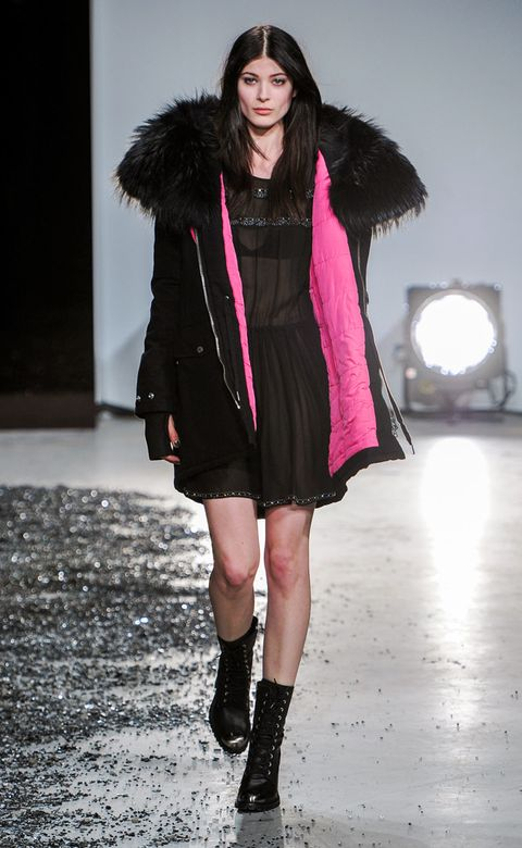 Clothing, Winter, Shoulder, Textile, Fashion show, Outerwear, Dress, Fashion model, Style, Fur clothing,