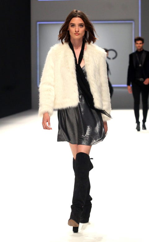 Clothing, Footwear, Leg, Sleeve, Shoulder, Textile, Joint, Outerwear, Fashion show, Style,