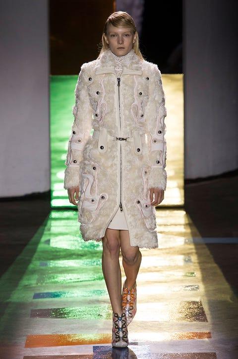 Clothing, Human, Dress, Outerwear, Fashion show, Runway, Coat, Fashion model, Style, Street fashion,