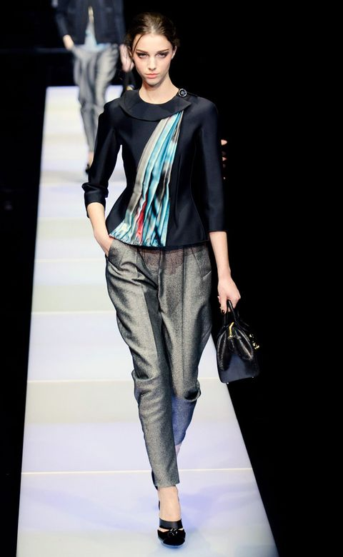 Clothing, Shoulder, Textile, Bag, Fashion show, Joint, Outerwear, Style, Fashion model, Jewellery,