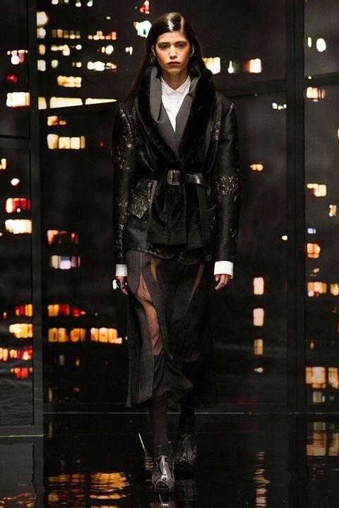 Outerwear, Jacket, Style, Fashion show, Fashion model, Fashion, Street fashion, Runway, Fur, Leather,