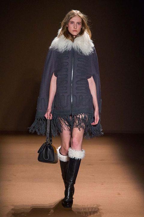 Clothing, Footwear, Leg, Textile, Joint, Outerwear, Human leg, Knee, Fashion, Fashion show,