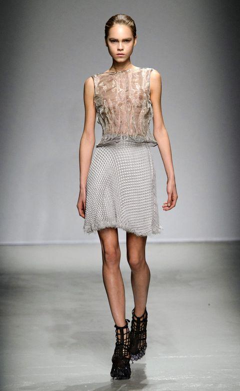 Clothing, Footwear, Fashion show, Human leg, Shoulder, Joint, Fashion model, Dress, Style, Runway,
