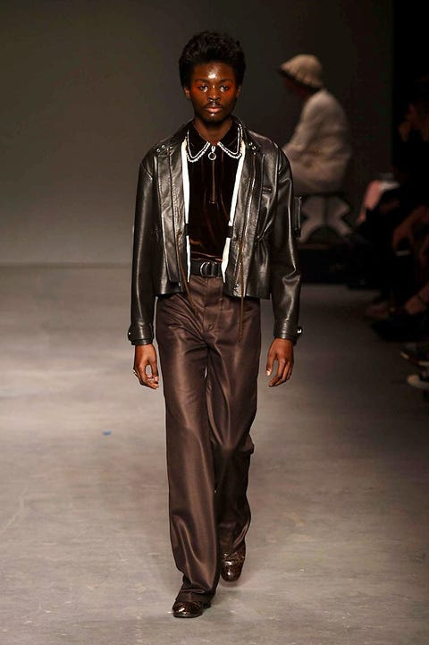 Brown, Trousers, Textile, Jacket, Outerwear, Jewellery, Collar, Style, Fashion show, Leather,