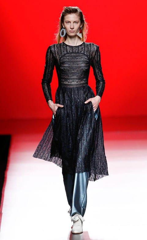 Red, Fashion show, Fashion model, Dress, Style, Runway, Fashion, One-piece garment, Model, Haute couture,