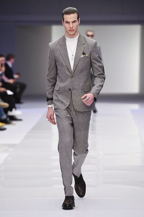 Clothing, Fashion show, Trousers, Shoulder, Collar, Runway, Coat, Joint, Outerwear, Fashion model,