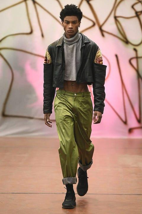 Trousers, Fashion show, Style, Waist, Runway, Fashion model, Fashion, Trunk, Fashion design, Abdomen,