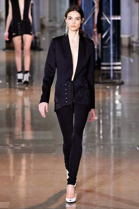 Clothing, Leg, Sleeve, Fashion show, Shoulder, Joint, Collar, Outerwear, Fashion model, Style,