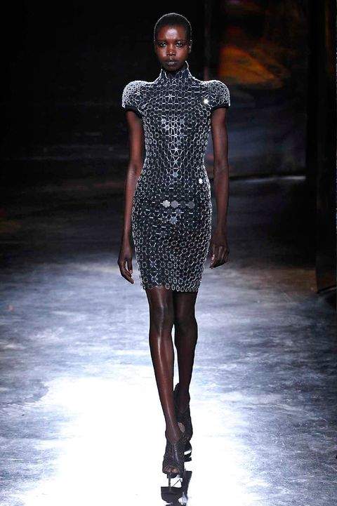 Fashion show, Shoulder, Joint, Runway, Fashion model, Style, Dress, Waist, Fashion, Neck,
