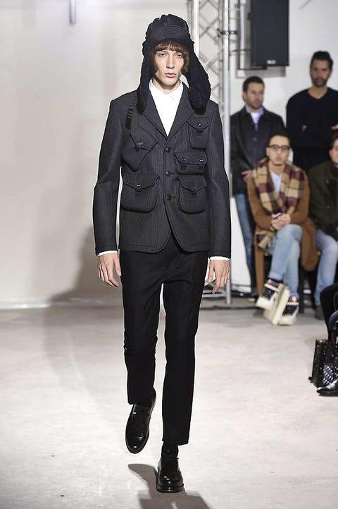 Clothing, Footwear, Leg, Trousers, Shirt, Collar, Coat, Outerwear, Fashion show, Style,